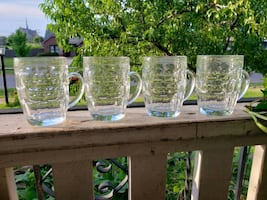 (4) Large Glass Beer Mugs