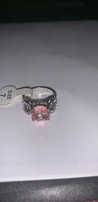 silver-colored ring with pink gemstone Frederick, 21702