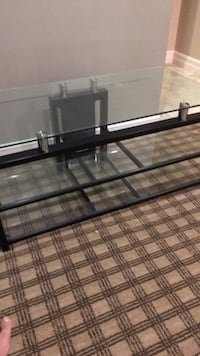 black metal framed glass top TV stand