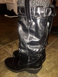 pair of black leather knee-high boots Surrey