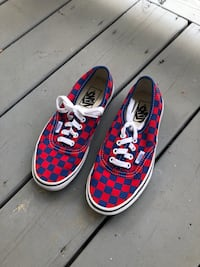 Red and blue checkered vans. Worn once, original laces still on. Alexandria, 22304