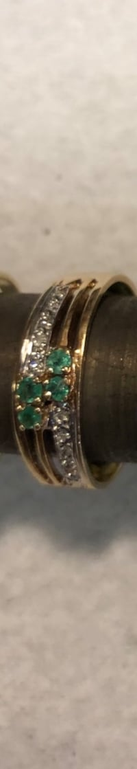 Emerald Ring with small diamonds 10k gold $295 Vancouver, V5R 5J4
