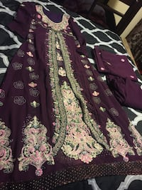 women's maroon, green, and pink floral dress