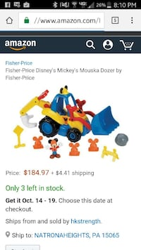 Mickey mouse mouska dozer play set New Kensington, 15068