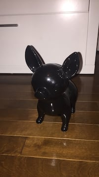 black ceramic dog figurine