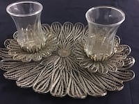 Silver plated filigree tea set with two glass Ottawa, K2B 5Z9