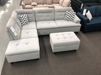 Only $50 Down!  New Sectional With Storage Ottoman. Grey. Delivery and Assembly included! Norwalk