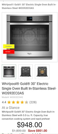 """Whirlpool® Gold® 30"""" Electric Single Oven Built In"""