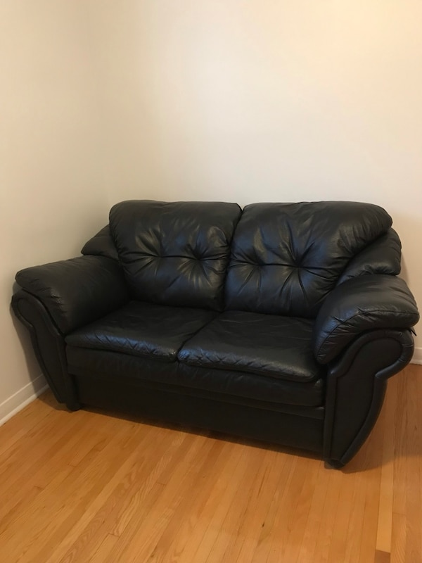 Used 2 seats real leather sofa (couch) excellent condition for sale ...