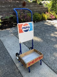Vintage PEPSI Hand Truck SODA Crate Display Dolly METAL Sign Gig Harbor