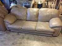 brown leather 3-seat sofa Reston, 20191