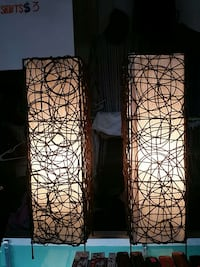 brown-and-white table lamps