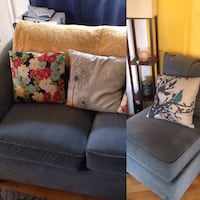 Grey/blue Comfy loveseat w/ matching chair