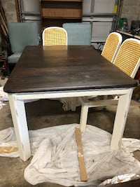 Chabby chic redone table with 6 chairs, reupholstered seats Hudson