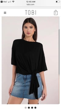 Women's black crew-neck elbow-sleeved self-tie top and blue denim stonewashed mini skirt screenshot College Station, 77840
