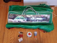 Used camping tent + mini stove + small tent light
