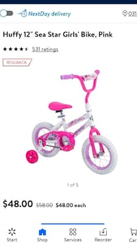 "Like New 12"" Girls Huffy Bike w/Helmet"