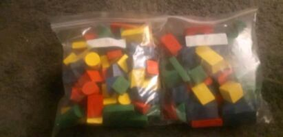 84 Wooden assorted blocks