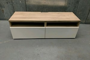 Ikea TV cabinet with two large gloss white draws