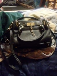 black leather two way bag