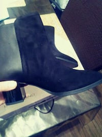 pair of black suede chunky heeled booties 2270 mi
