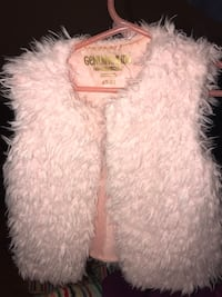 Pink and white fur vests