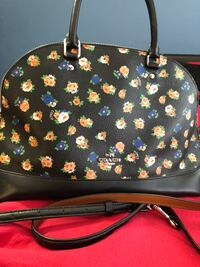 Limited edition Black and pink floral leather crossbody bag Surrey, V3R 3Z6