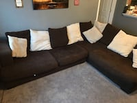 brown fabric sectional sofa with throw pillows El Paso, 79938