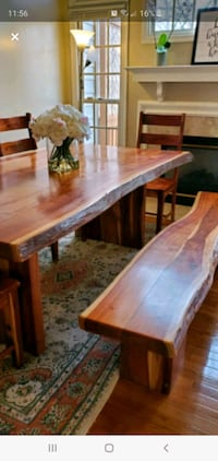Solid wood dining table with 4 chairs & bench Vienna, 22182