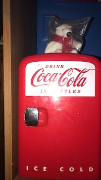 red and white Coca-Cola compact refrigerator and connection to car Bakersfield, 93304