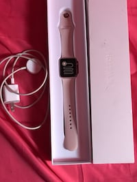 white Apple Watch with white sports band Evans, 80620