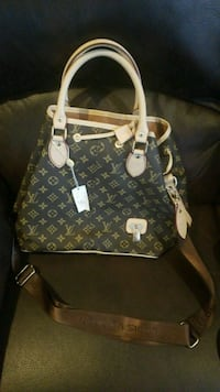 brown and white Louis Vuitton leather tote bag Louisville