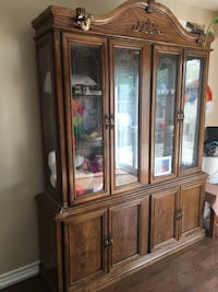 Brown wooden framed glass display cabinet Mississauga, L5B 2P8