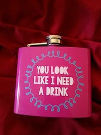 pink and white you look like i need a drink printed hip flask Victorville, 92392