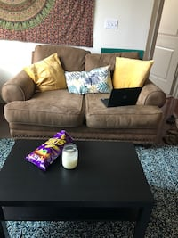 Brown Couch with Decorative Pillows Dallas