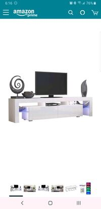 Entertainment center with LED multiple color lights