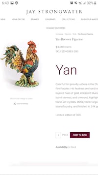 Jay Strongwater - hand-crafted Ceramic Rooster (1/300) w/painting