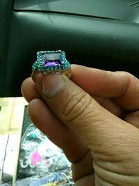 silver and purple gemstone ring Tallapoosa