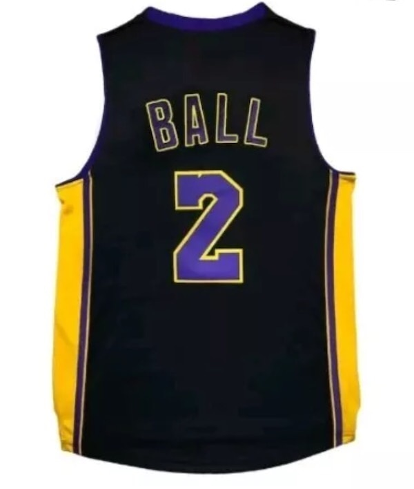 buy popular 6c6a5 ffa79 New Lonzo Ball Hollywood Nights Black Stitched Jersey Mens S, M, L, XL