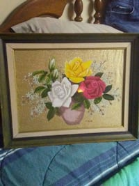 white and pink flower painting with brown wooden f Jasper, 30143
