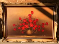 Beige wooden framed painting of red petaled flowers Caledon, L7E 3J9