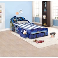 Blue and white bed frame