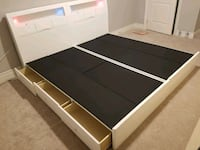 black and white wooden bed frame Bradford West Gwillimbury, L3Z 2A4