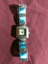 rectangular silver-colored analog watch with link bracelet Merced, 95341