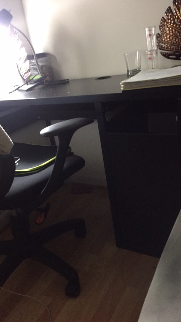Black wooden desk two drawers missing.. otherwise in good condition
