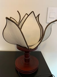 Lotus flower silk table lamp. Artisan made Toronto, M6G 3A5