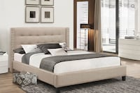 Beige Brand New Double Bed with nailhead detailing (free delivery) Vaughan