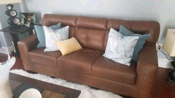 Three pieces: Sofa love seat and chair.