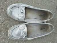 women's pair of grey loafers