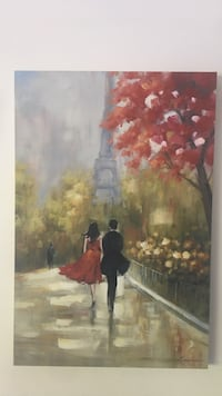man and woman standing near Eiffel Tower, Paris painting